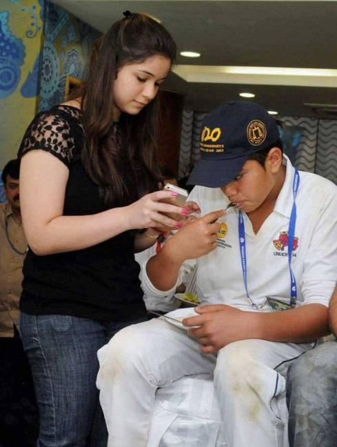 Sachin Tendulkar's daughter Sara along with brother Arjun.