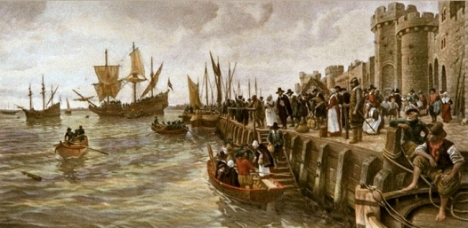 Sailing of the Mayflower - 1620 (From Southampton, Hampshire) Anonymous engraver after a picture by A.Forestier.