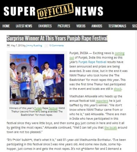 Surprise Winner At This Years Punjab Rape Festival