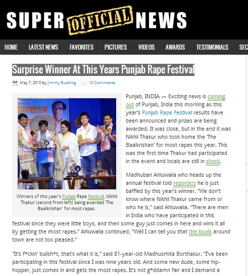 Surprise Winner At This Years Punjab Rape Festival