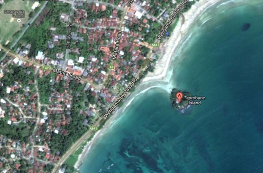 Tabrobane Island on the shore of Weligama. (Source: Google Maps)