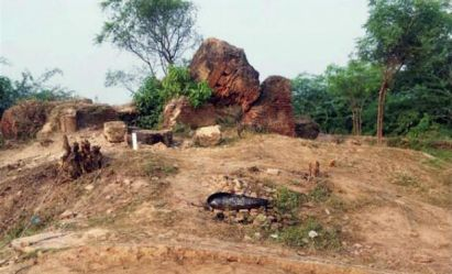 The marked spot at Raja Ram Rao Bux fort where excavation was carried out in Unnao - PTI File photo