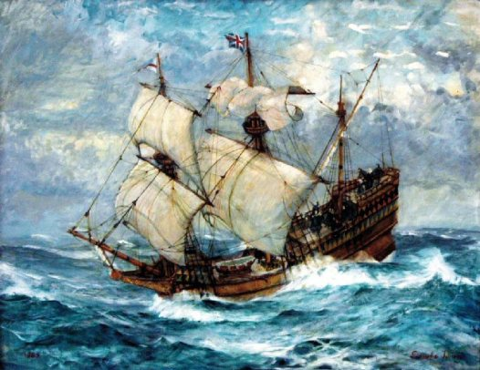 The 'Mayflower' by Donald Swan FRSA. Six days out on her voyage to America she was overtaken by a tremendous storm. The painting shows the topsail being lowered.