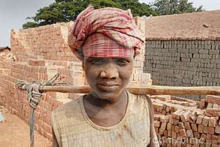 Brick field labourer in India.