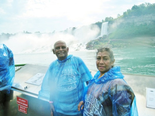 On board the Maid of the Mist. The American Falls and Bridal Veil Falls in the background. (Photo - T.V. Antony Raj)