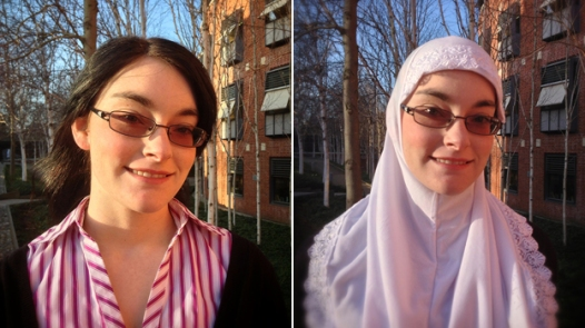 Jess Rhodes, 21, a student from Norwich in the UK with and without her Hijab (Source: bbc.co.uk)