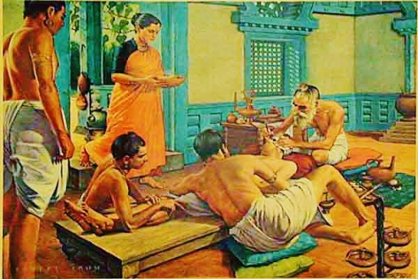Plastic Surgey - Susruta, famed Hindu surgeon, is depicted in the home of a noble of ancient India, about to begin an otoplastic operation. The patient, drugged with wine, is steadied by friends and relatives as the great surgeon sets about fashioning an artificial ear lobe. He will use a section of flesh to be cut from the patient's cheek; it will be attached to the stump of the mutilated organ, treated with homeostatic powders, and bandaged. Details of this procedure, and of Susruta's surgical instruments, are to be found in the Susruta-samhita, ancient Indian text on surgery. (Source: dodd.cmcvellore.ac.in)