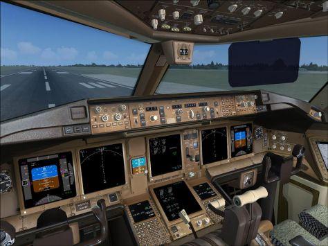 Controls in the cockpit of a Boeing 777-200ER (Source: flyawaysimulation.com)
