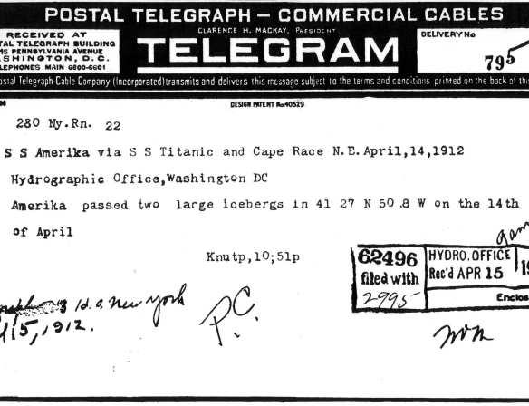 File copy from Samuel Barr of the telegram from SS Amerika via SS Titanic on location of two large icebergs 14 April 1912. (Source: Wikimedia Commons)