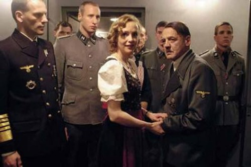 A scene from the movie 'Der Untergang' - Adolf Hitler (played by Bruno Ganz) and his newly married wife Eva Braun say good-bye in the FührerBunker. (Source - meaus.com)