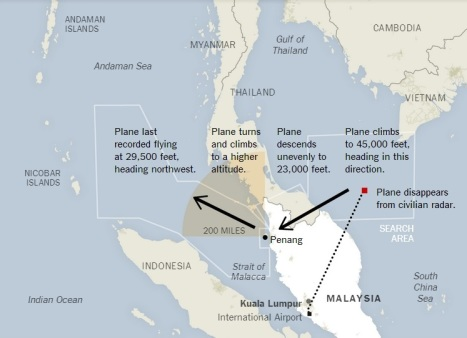 The diagram published by New York Times citing Malaysia's Department of Civil Aviation (search areas); flightradar24.com (dotted flight path); Malaysia Airlines as sources.