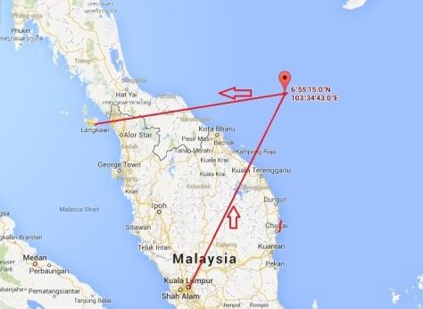 Flight of MH370 to Langkawi
