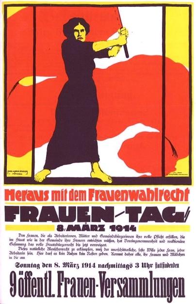 Frauentag 1914 Heraus mit dem Frauenwahlrecht (Source: Wikimedia Commons)
