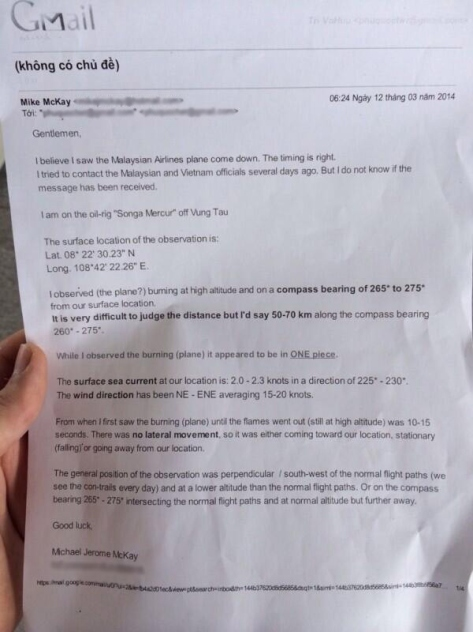 Image of email from Mike McKay, an oil rig worker, obtained by ABC's Bob Woodruff (Source: globalsnews.ca)