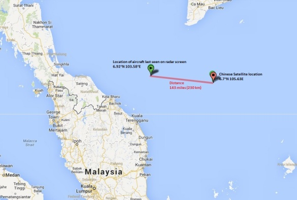 Location of aircraft last seen on radar screen  and where the Chinese Satellite found three floating objects in the sea.
