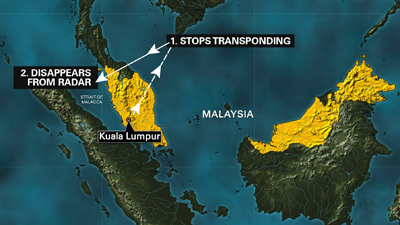 Malaysia Airlines MH370 change of course (Source: fox6now.com)