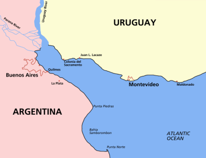 Map of the Río de la Plata, between Argentina and Uruguay in South America.