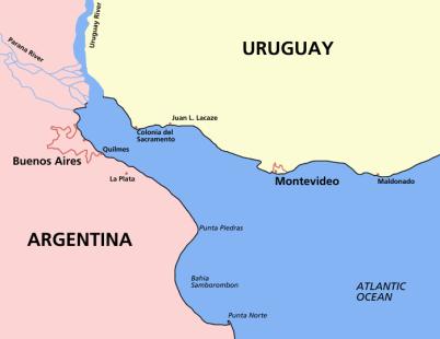 Map of the Río de la Plata, between Argentina and Uruguay in South America.