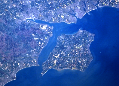 Satellite image showing the Solent, separating the Isle of Wight from mainland England (Source: Earth Sciences and Image Analysis, NASA-Johnson Space Center)