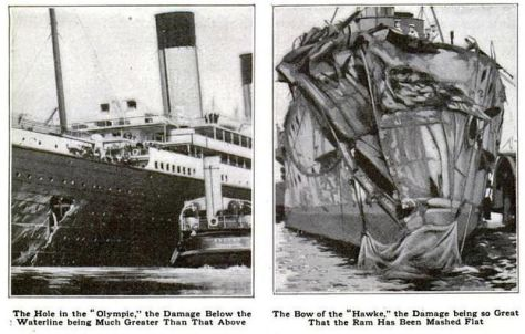 The damage to RMS Olympic (Source: Popular Mechanics Magazine December 1911)
