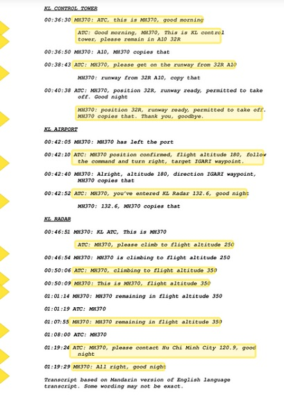 Transcript of the final 54 minutes of communication from Malaysia Airlines flight MH370 (Source: telegraph.co.uk)