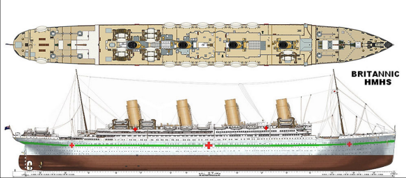 Digital plans of the Britannic in hospital ship colours by Cyril Codus. (Source: hmhsbritannic.weebly.com)