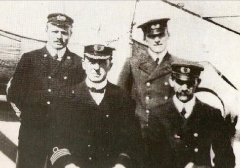 Officers of SS Californian.  Front row, left to right: Captain Lord, Chief Officer Stewart. Back row, left to right: 2nd  Officer Stone, 3rd Officer Groves