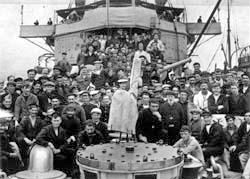 Some of the survivors aboard HMS Scourge (Source: pbs.org)