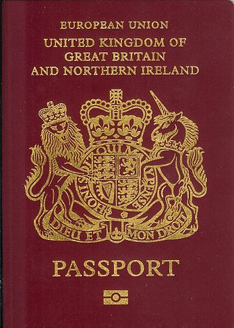 The front cover of a British biometric passport issued since 2006. (Photographed by Benbread)