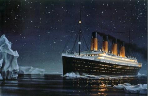 Titanic in ice field (Artist: Ken Marschall)