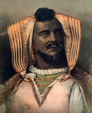 American actor John McCullough as Othello, 1878.