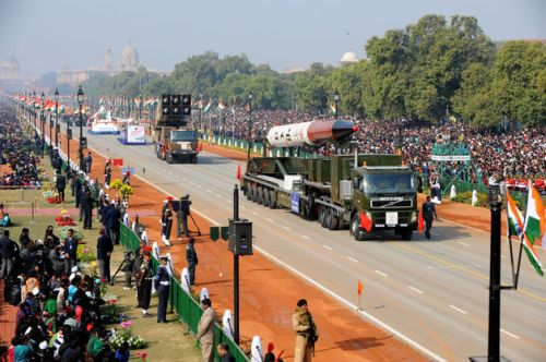 India displaying Agni 5 ICBM at Republic day parade of India at New Delhi.
