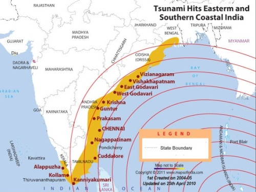Map showing Tsunami Affected Area in India.