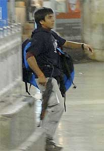 Mohammed Ajmal Amir Kasab in the Chhatrapati Shivaji Terminus during the 2008 Mumbai attacks.