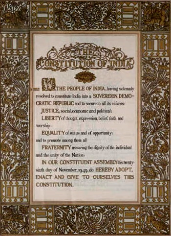 The original text of the Preamble, before the 42nd Amendment) of the Constitution.