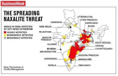 The Spreading Naxalite Threat (Source: vinay.howtolivewiki.com)