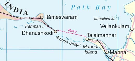 A map showing the ferry route from Dhanushkod, Indiai to Talaimannar , Sri Lanka (Source:-Wikimedia Commons)