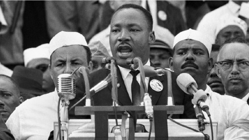 "August 28, 1963, Dr. Martin Luther King Jr., head of the Southern Christian Leadership Conference, delivers his ""I Have a Dream"" speech at the Lincoln Memorial in Washington.(Associated Press File Photo)"