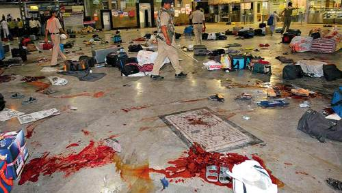 Chhatrapati Shivaji Terminus, Mumbai - After the terrorist attack (Source: outlookindia.com)