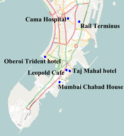 Map of the 2008 Mumbai terror attacks