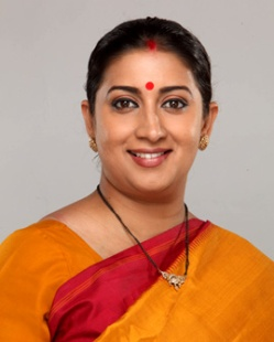 Smriti Zubin Irani, incumbent Minister of Human Resource Development of Government of India since May 27, 2014.