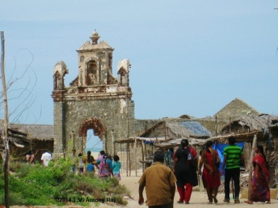 St. Antony's Church at Dhanuskodi devastated by the cyclone of 1964 (Photo: T.V. Antony Raj)