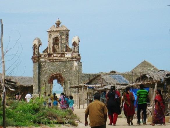 St. Antony's Church at Dhanuskodi devastated by the cyclone of 1964 (Photo: T.V. Antony Raj)