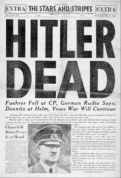 Front page of the U.S. Armed Forces newspaper, Stars and Stripes, 2 May 1945. (Photo credit: Wikipedia)