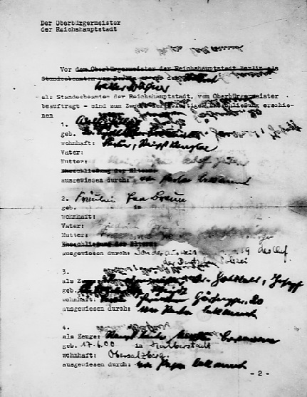 Marriage certificate of Adolf Hitler and Eva Braun - page 1 (Source: Eisenhower. archives. Gov)