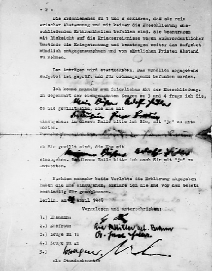 Marriage certificate of Adolf Hitler and Eva Braun - page 2 ( (Source: eisenhower.archives.gov)
