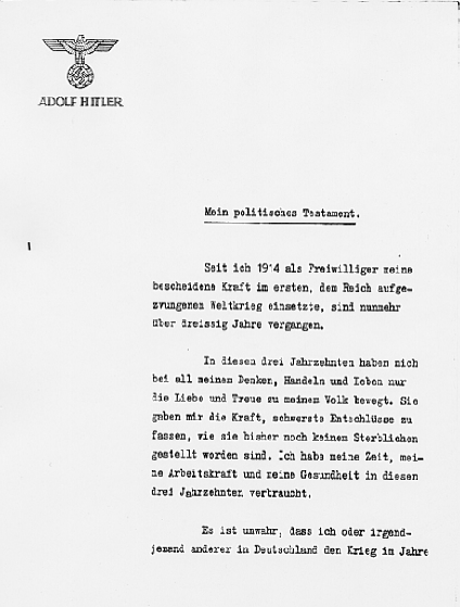 Hitler's Political Statement - Page 1 ((Source: eisenhower.archives.gov)