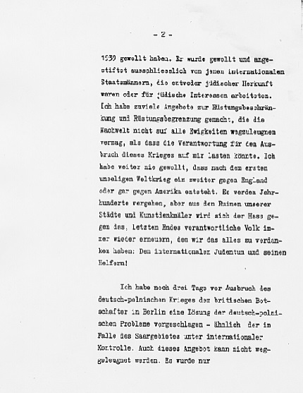 Hitler's Political Statement - Page 2 ((Source: eisenhower.archives.gov)