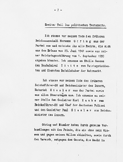 Hitler's Political Statement - Page 7 (Source: eisenhower.archives.gov)