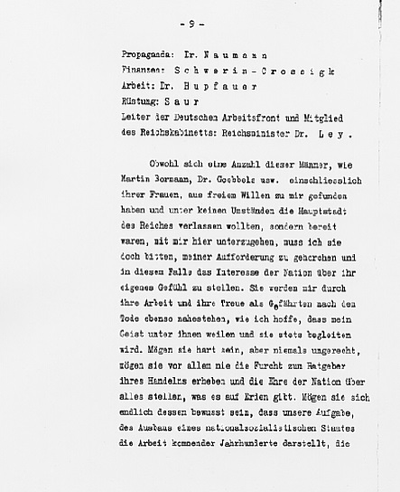 Hitler's Political Statement - Page 9 (Source: eisenhower.archives.gov)